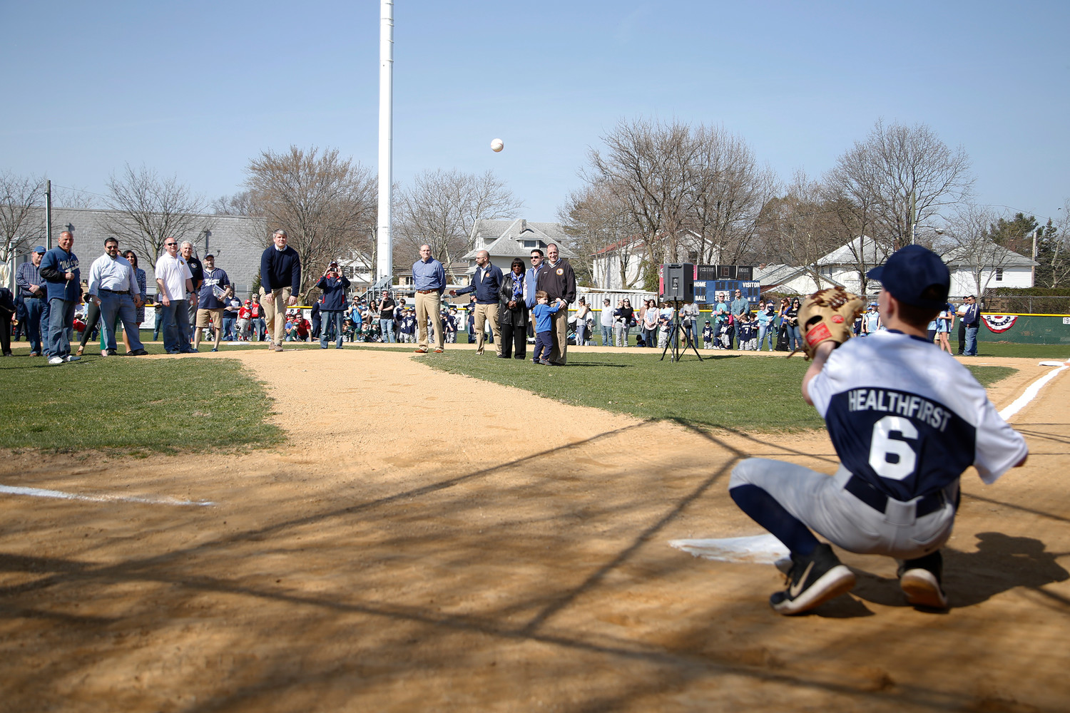 Malverne village Trustee Keith Corbett threw a perfect strike last Saturday at Harris Field to kick off the Malverne Little League season.