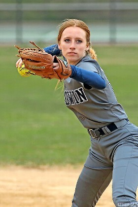Baldwin junior shortstop Katelyn Borello fired a throw during the team's 6-5 victory over Plainview on April 12.