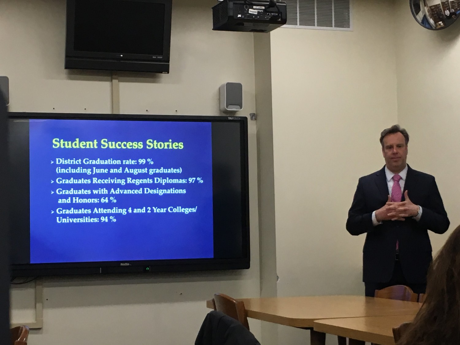 Superintendent Bill Heidenreich presented the district's proposed 2018-19 budget at a Central High School/Memorial Junior High School Parent Teacher Association meeting on April 11.