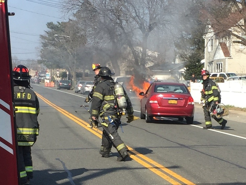 A car collision in East Meadow on March 14 caused one vehicle to go up in flames.