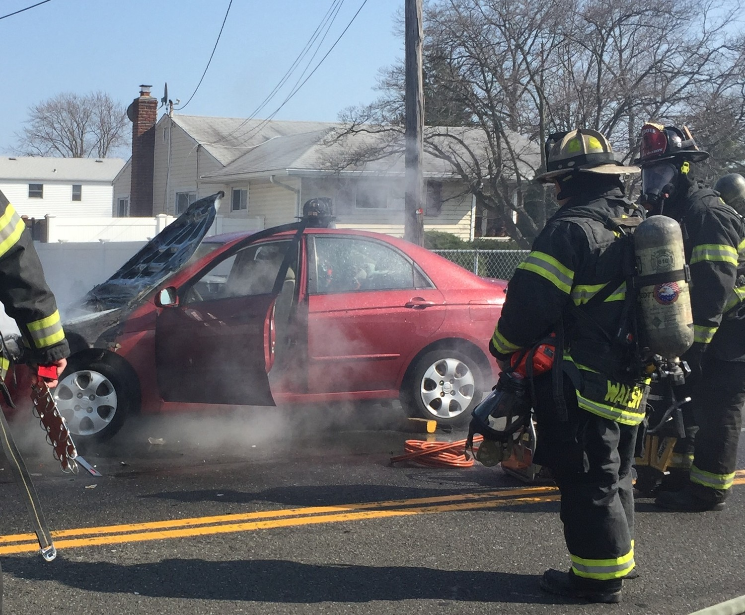 The East Meadow Fire Department responded to the two-car motor vehicle accident on Front Street, which caused the street to temporarily close.