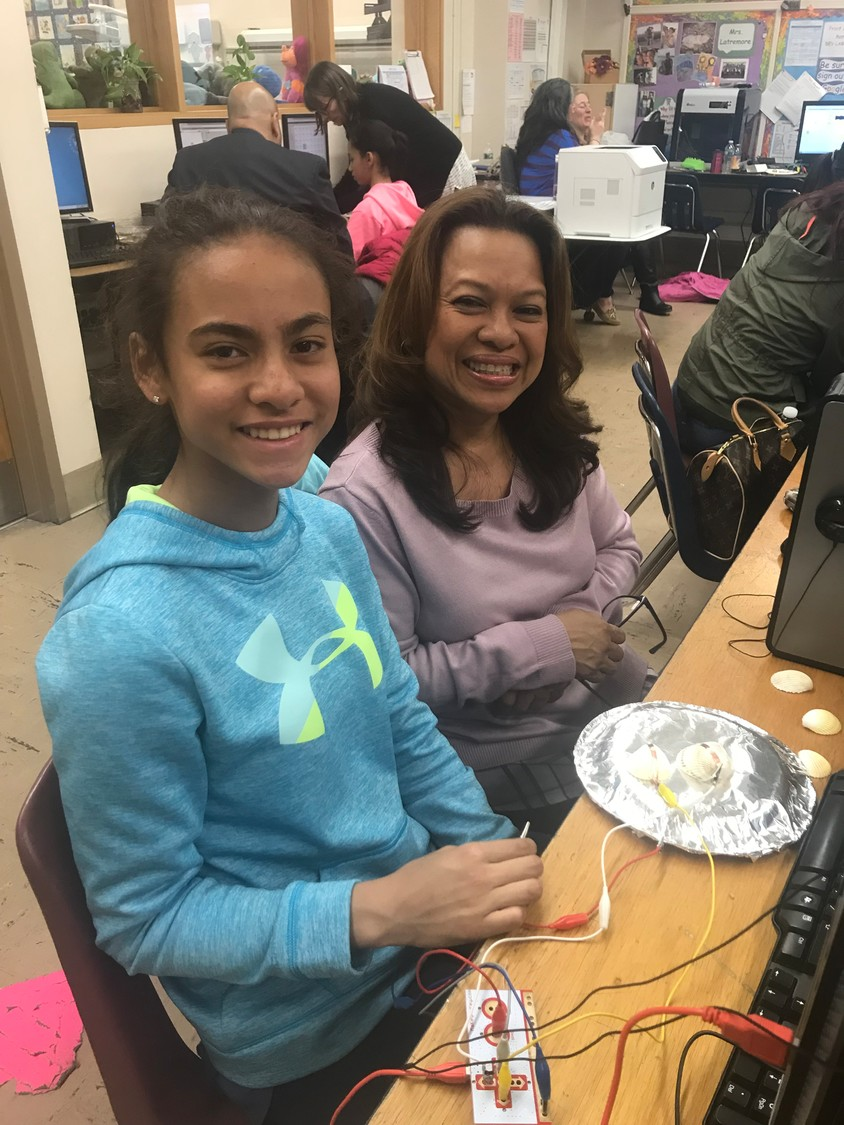 "This mother-daughter team programmed their ""Makey Makey"" microprocessor to make music from the touch of seashells."