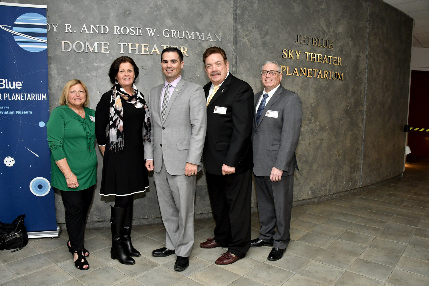 Police Commissioner's Community Council members nominated by Nassau County Legislator John Ferretti, pose at the swearing-in ceremony. (L to R: Helen Meittinis, Kerry Johnson-Gravina, John R. Ferretti, Brian Kelty and William Pastore.)