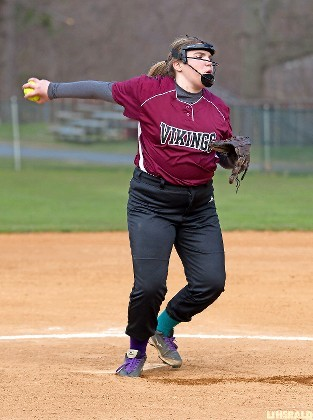 Sophomore hurler Lindsay Bonn came up big for the Lady Vikings in last Saturday's 12-5 win over Cold Spring Harbor with seven strikeouts and only four hits allowed.