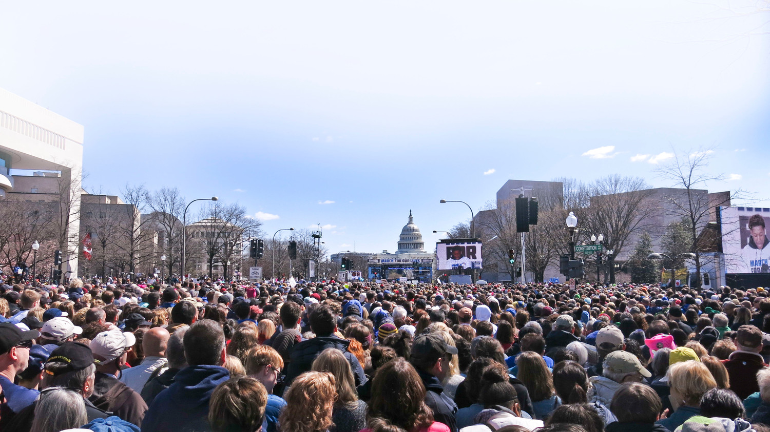Constitution Avenue in Washington was filled with protesters during the national March for Our Lives rally on March 24.