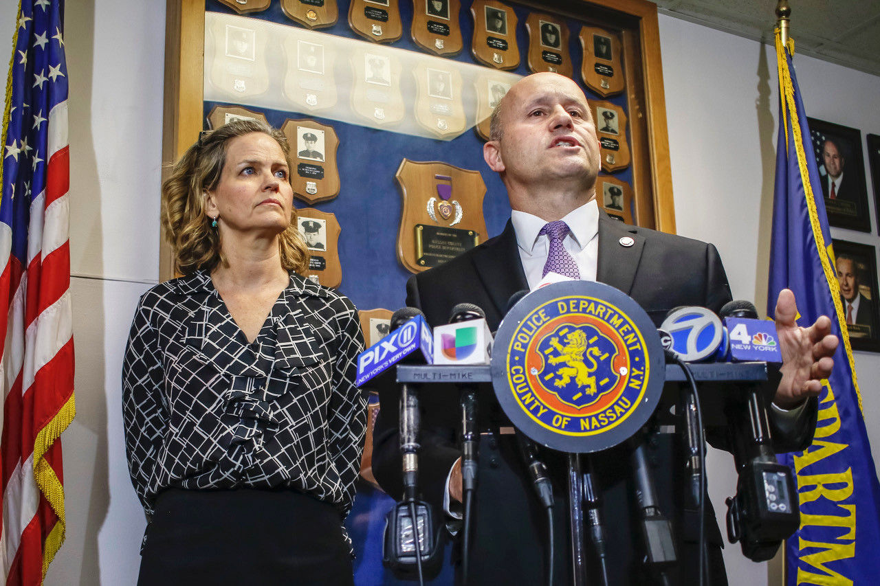 Nassau County Police Commissioner Patrick Ryder, joined by County Executive Laura Curran, said the El Salvadoran gang MS-13 has threatened Nassau County police officers.