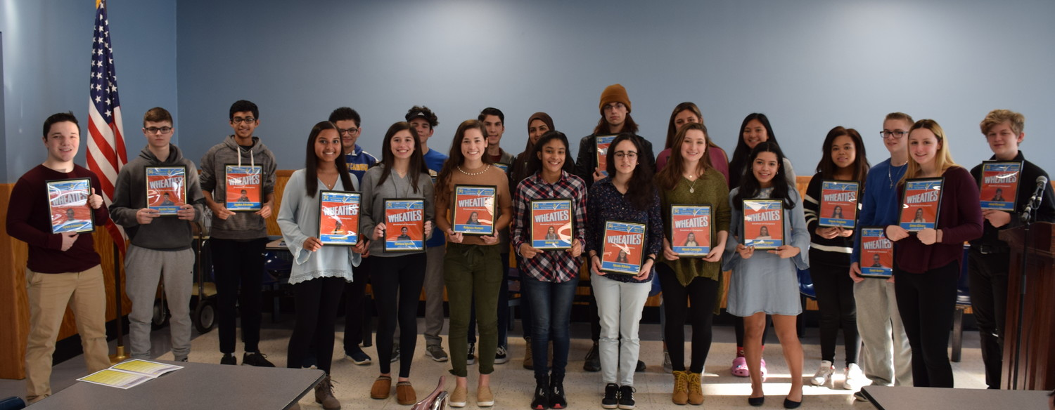 "Twenty-five East Meadow High School students were recognized as ""East Meadow Champions"" during the school's annual Breakfast of Champions ceremony on March 16."