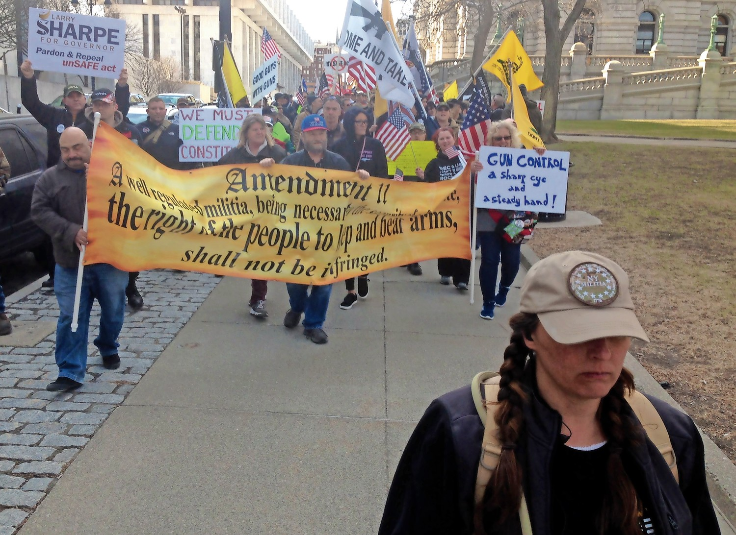 An estimated 300 to 400 gun-rights advocates rallied in front of the State Capitol in Albany last Saturday. Many protesters interviewed by the Herald said the AR-15 assault rifle must remain legal across the country.