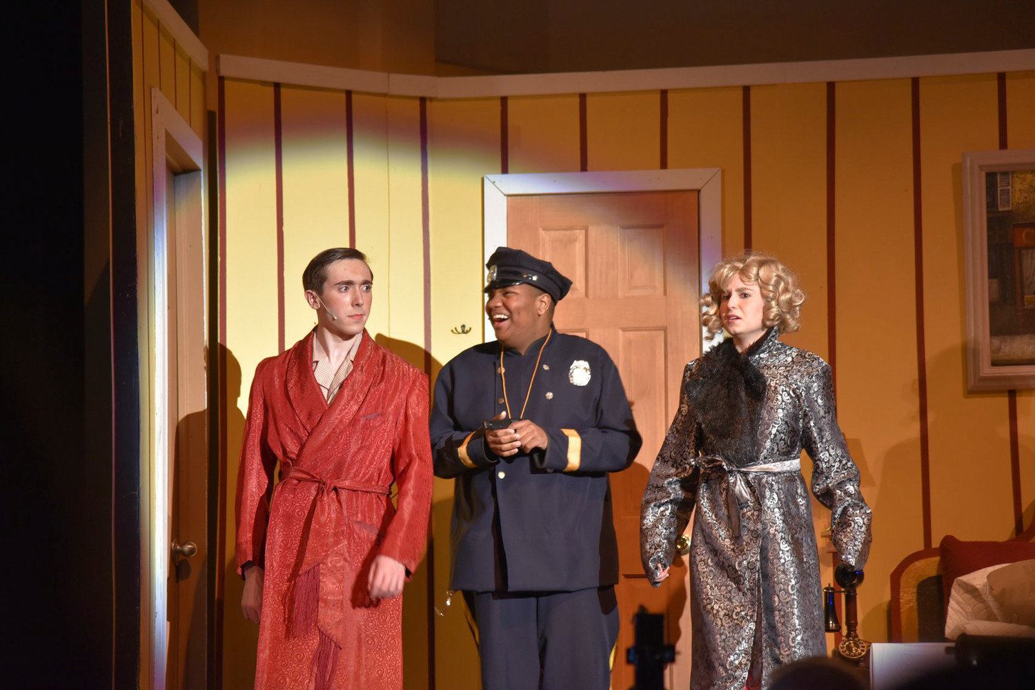 "Jimmy Winter played by Joe Sammartano, left, with Anthony Hernandez's Chief Berry and Billi Bendix played by Mikayla Gross sing ""Let's Call The Whole Thing Off."""