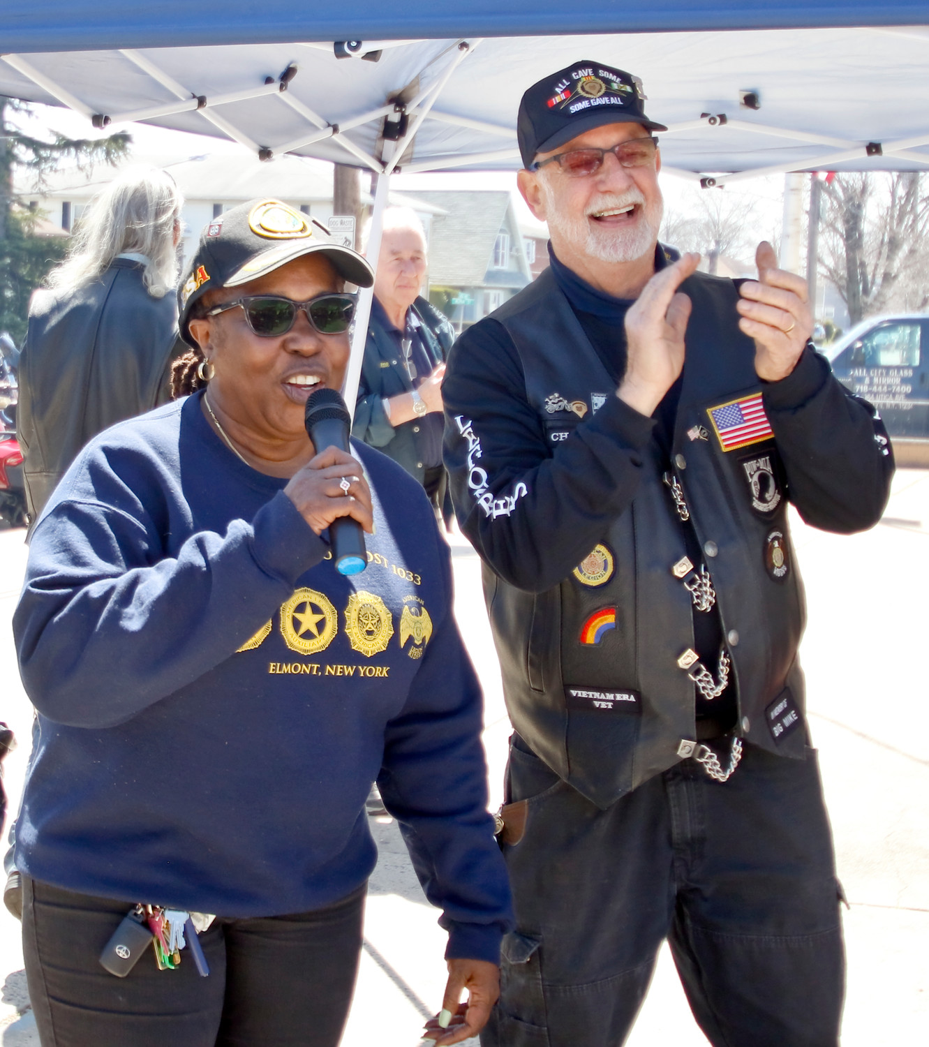 Elmont Legion Post 1033 Commander Lecia Whyte-Rodriques and First Vice-Commander Eric Spinner helped kick off the Blessing of the Bikes. Post 1033 boasts the largest membership in Nassau County.