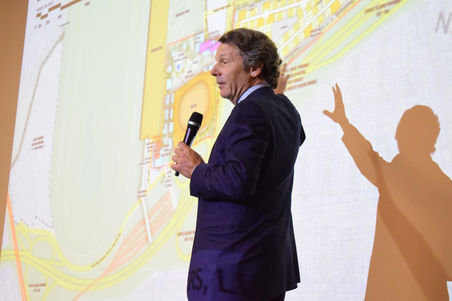 Managing Partner Richard Browne, of Sterling Property Development, explained the changes to the Belmont Arena project at a public Q&A Tuesday in Elmont.