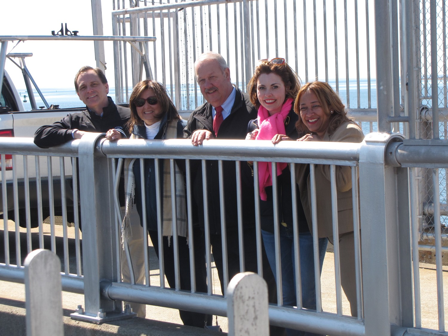 Freeport Mayor Robert Kennedy, center, was joined by Lynbrook Deputy Mayor Hilary Becker, far left, Plandome Manor Mayor Barbara Donno, Town of Hemstead Councilwoman Erin King Sweeney and Freeport Trustee Carmen Piñeyro on a tour of the New Bedford Hurricane Protection Barrier in Masschusetts on Monday.
