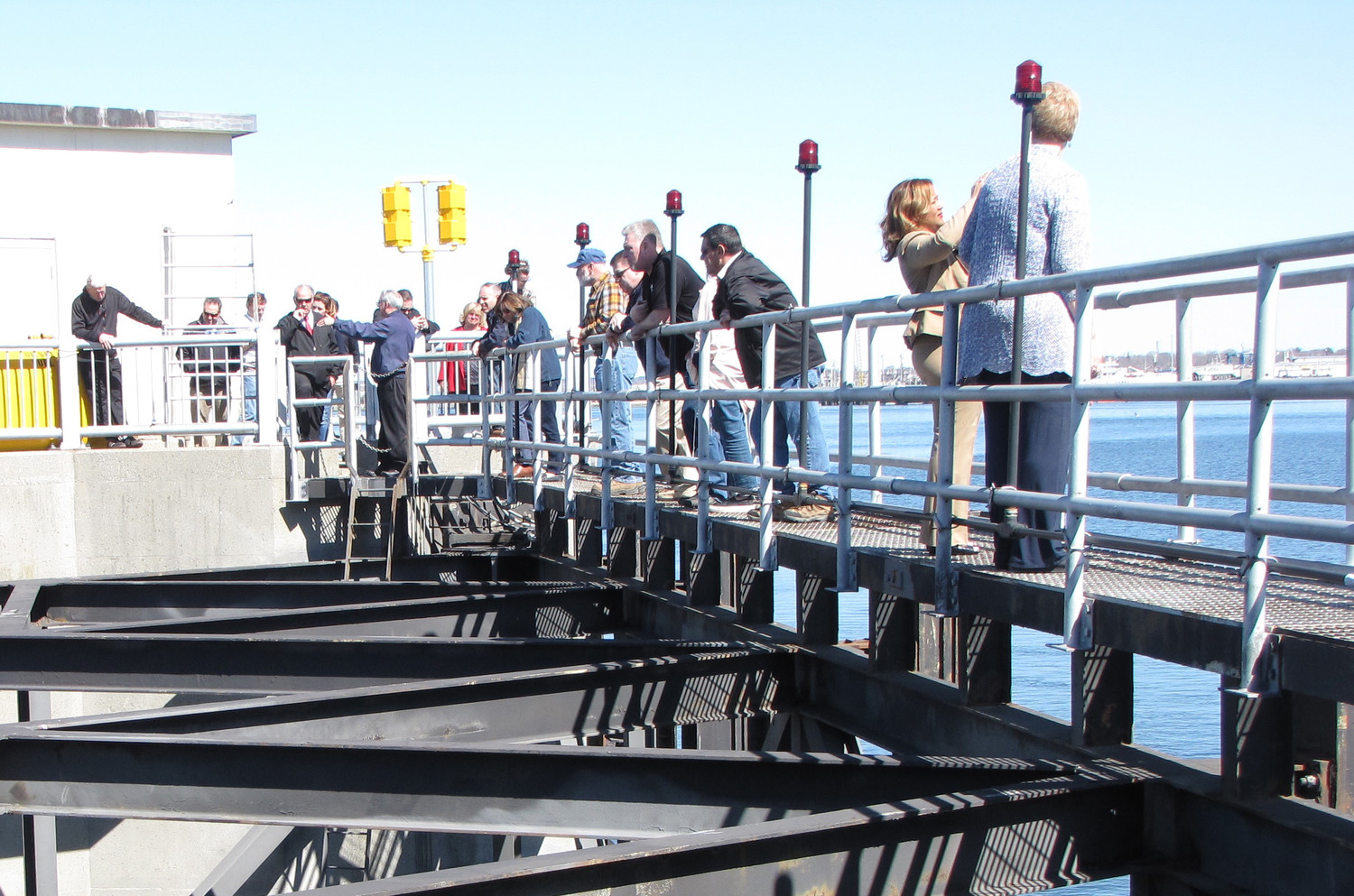 Tour participants stood atop the surge gates.
