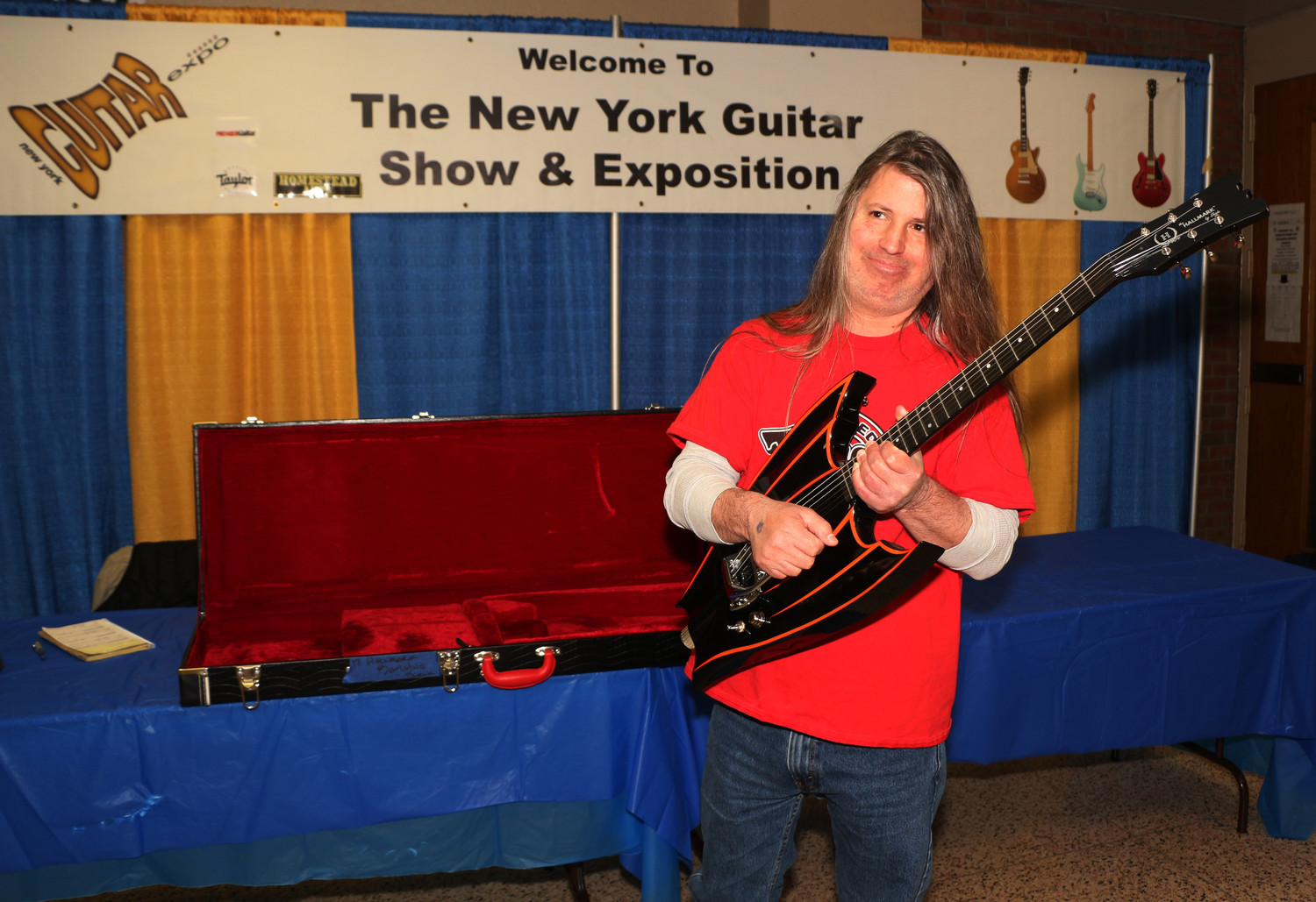 oe Loschiavo played his Hallmark Batman Guitar during the Guitar Expo in Freeport on Sunday.