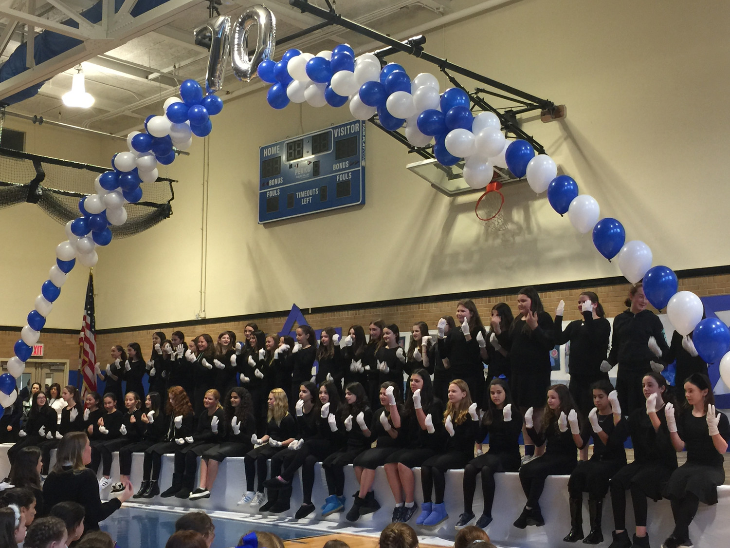 "The seventh-grade girls performed ""Shir Yisreal"" in sign language at the Hebrew Academy of the Long Beach's celebration of Israel at 70."