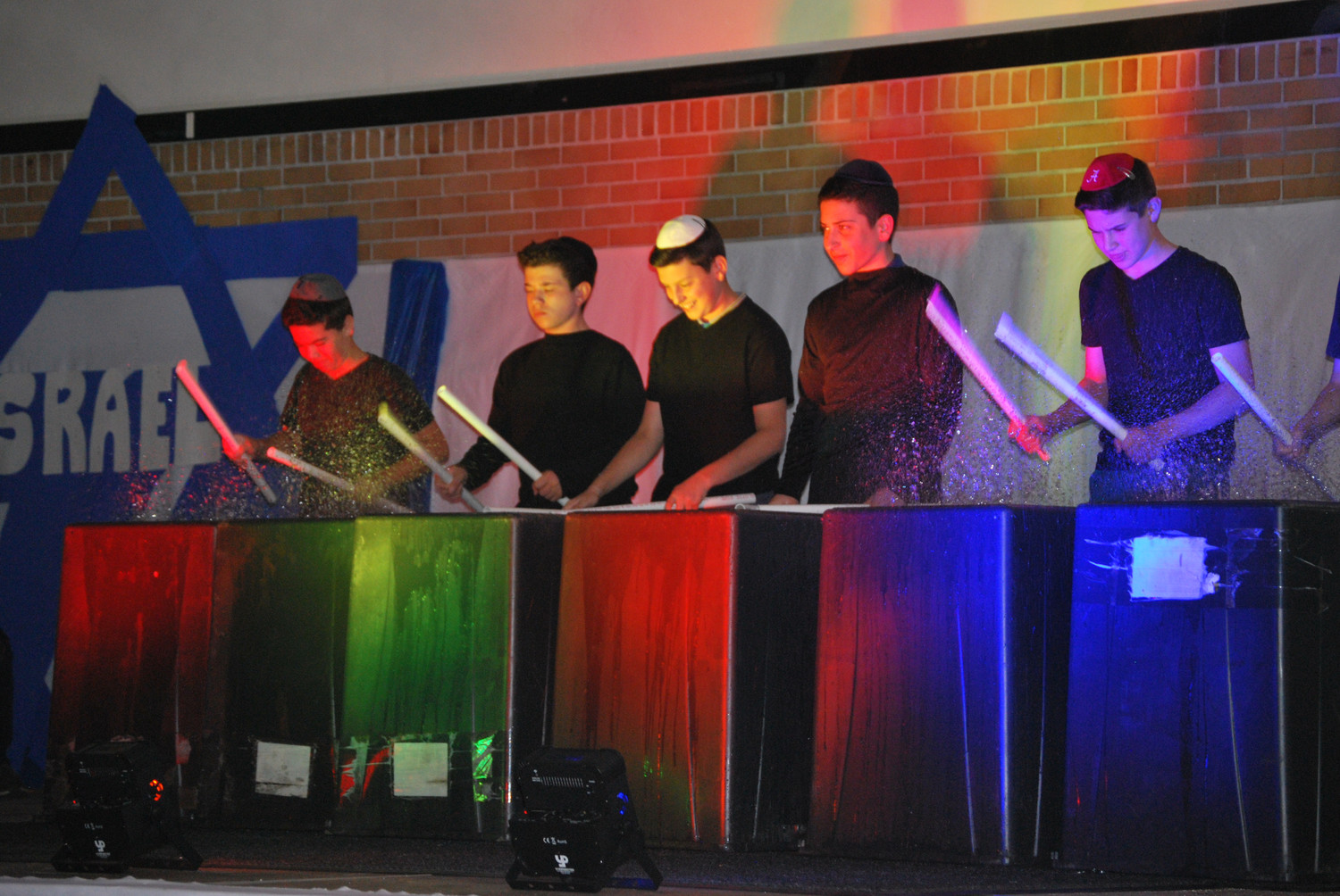 "Eighth-grade members of an Israel-style stomp ensemble performed ""Sababa Stomp!"" at the Hebrew Academy of Long Beach's celebration of Israel at 70 in Woodmere last week. Story, more photos, Page 9."