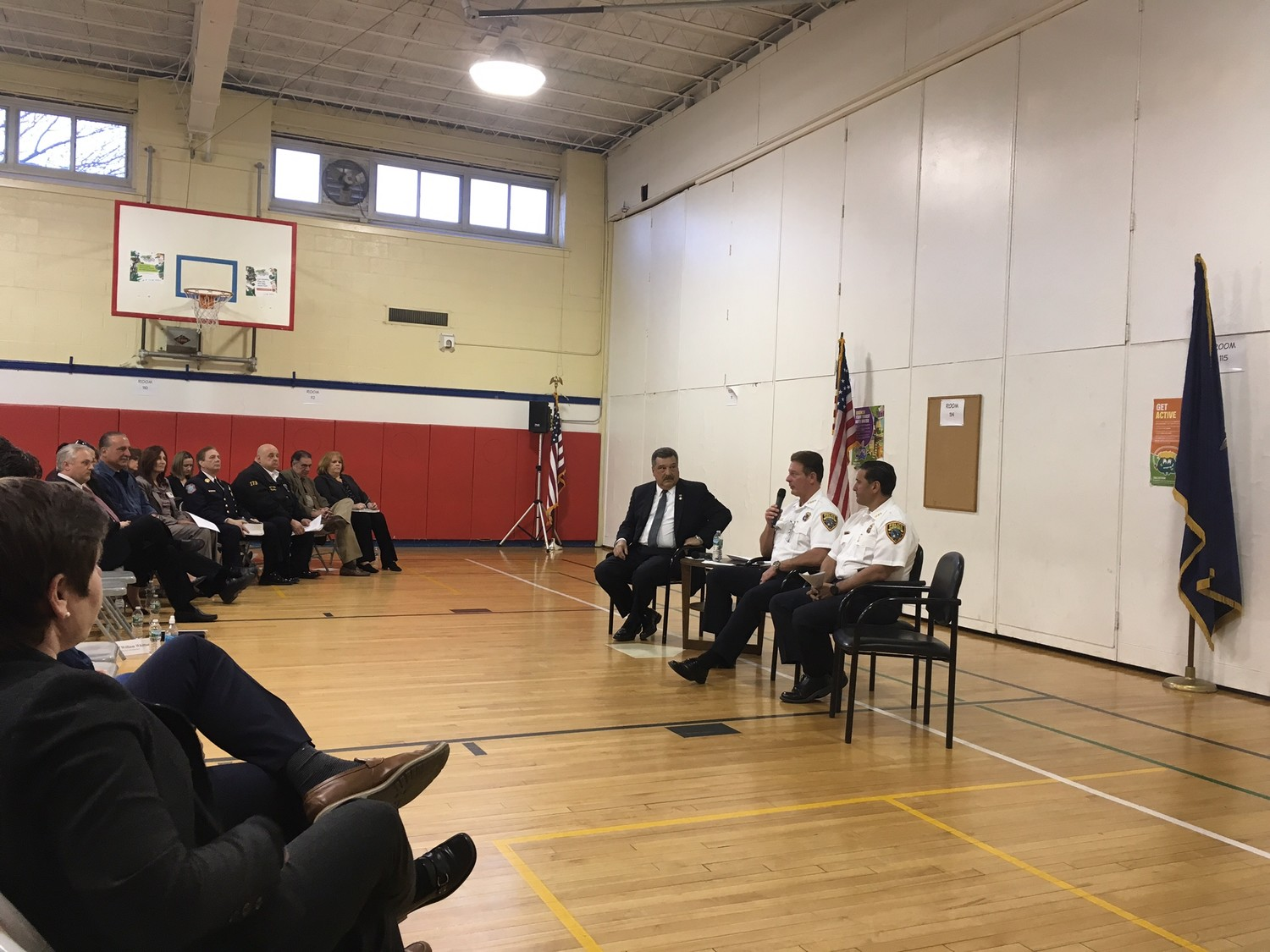 Mayor Tim Tenke, left, gave Glen Cove Police Chief William Whitton and Deputy Chief Chris Ortiz the opportunity to fill residents in on the department's anti-drug and anti-school shooter efforts.