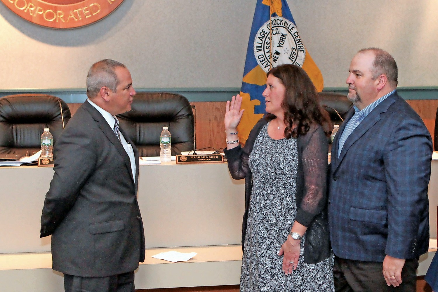 Kathy Baxley, pictured being sworn in as Rockville Centre's deputy mayor last June, plans to run for re-election.