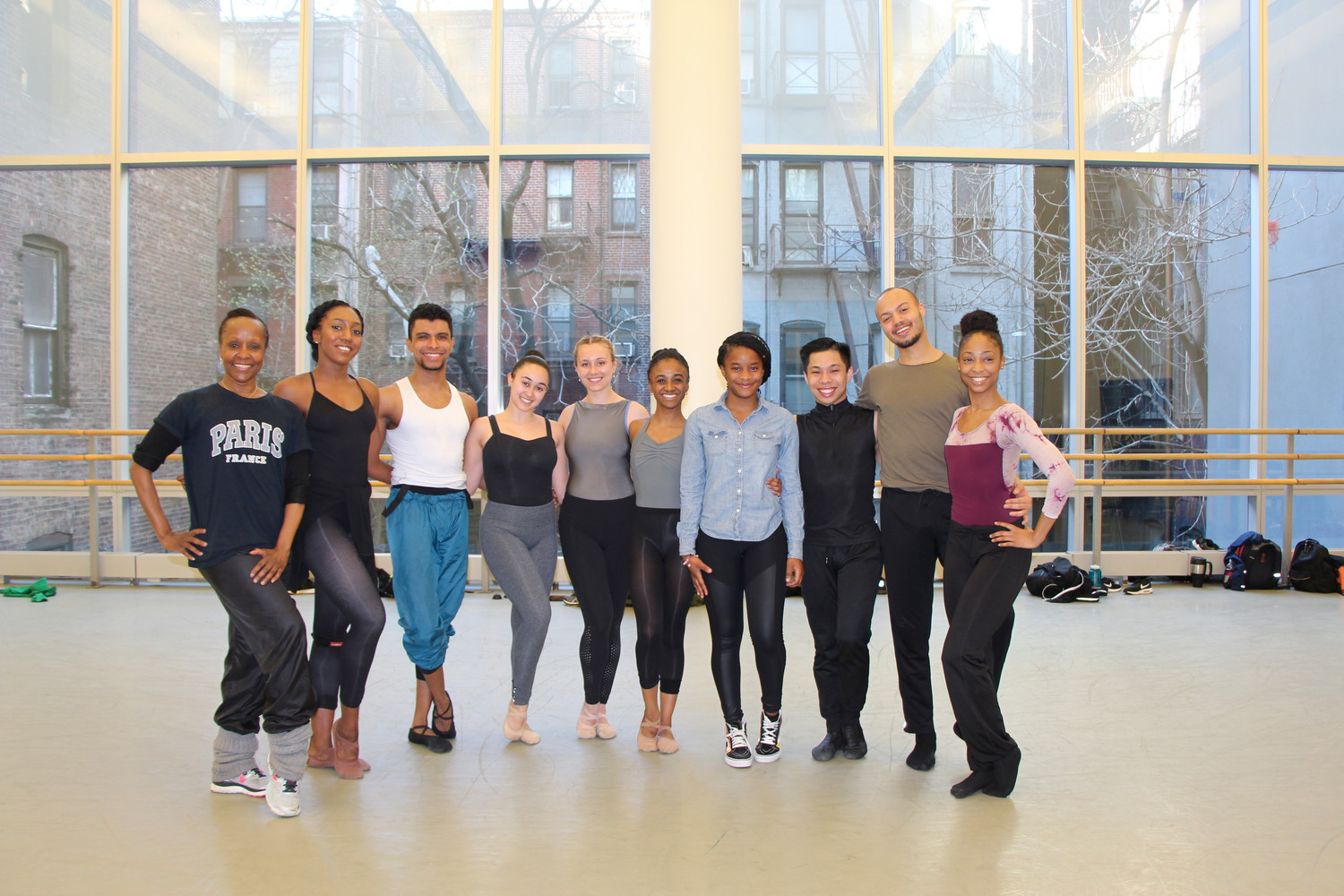 Stewart with students from the Alvin Ailey School.