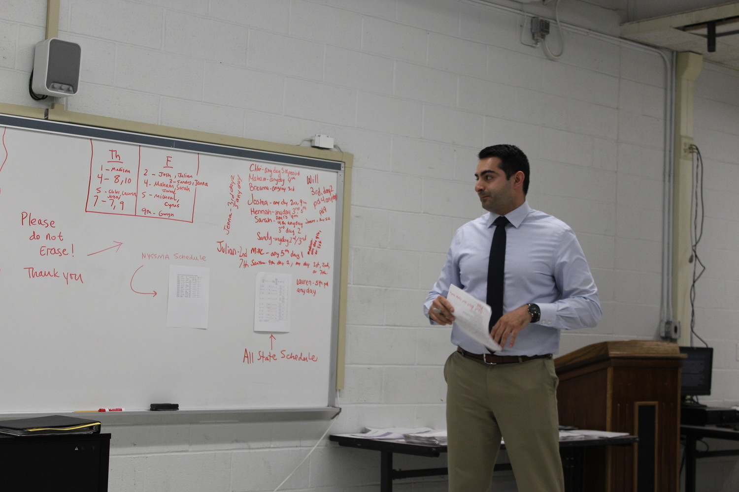 Michael Rubino, the athletic director at Valley Stream Central High School, spoke to about 20 parents on April 25 about creating an athletics booster club.