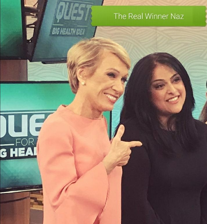 "Nazia Aiban, right, met ""Shark Tank"" star Barbara Corcoran at the ""Dr. Oz Show"" when she was promoting her ghee butter."