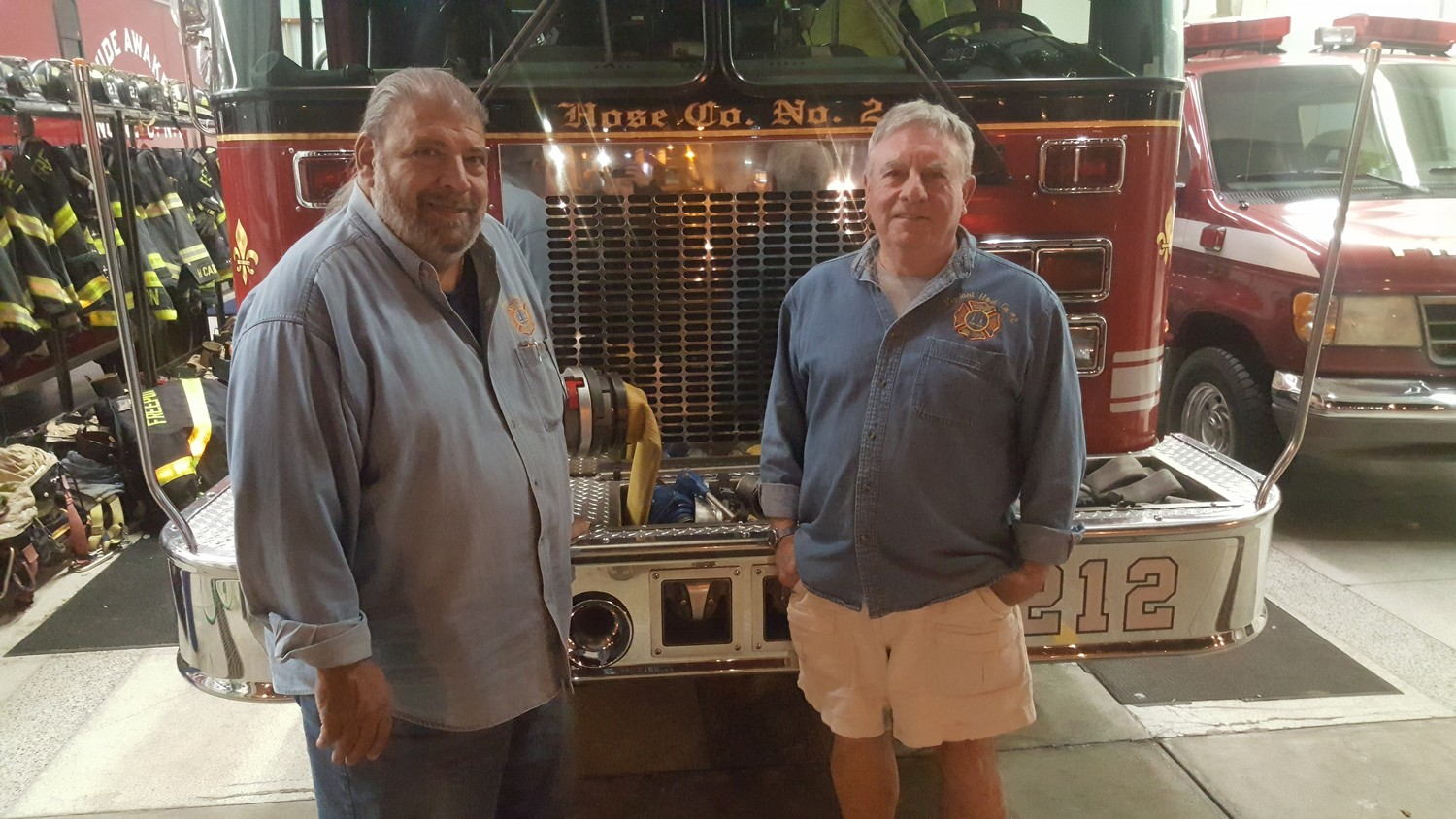 Freeport firefighters Anthony Basile, left, and Edward Martin joined Hose Co. No. 2 in 1968.