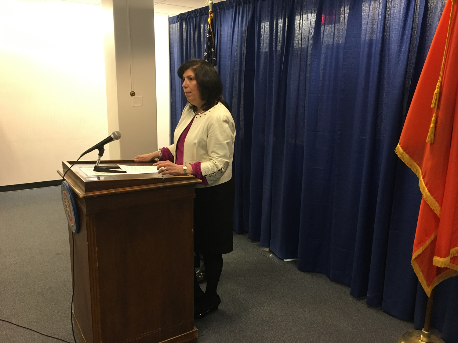 District Attorney Madeline Singas announced a proposed bill that would criminalize threats of mass harm.