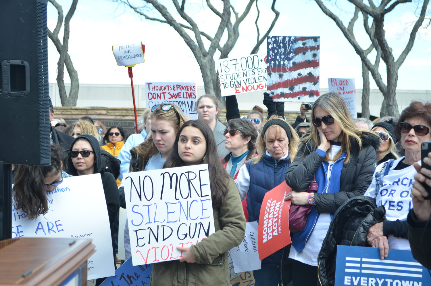 Hundreds of people gathered in Kennedy Plaza in March to protest gun violence after the shootings in Parkland, Fla.