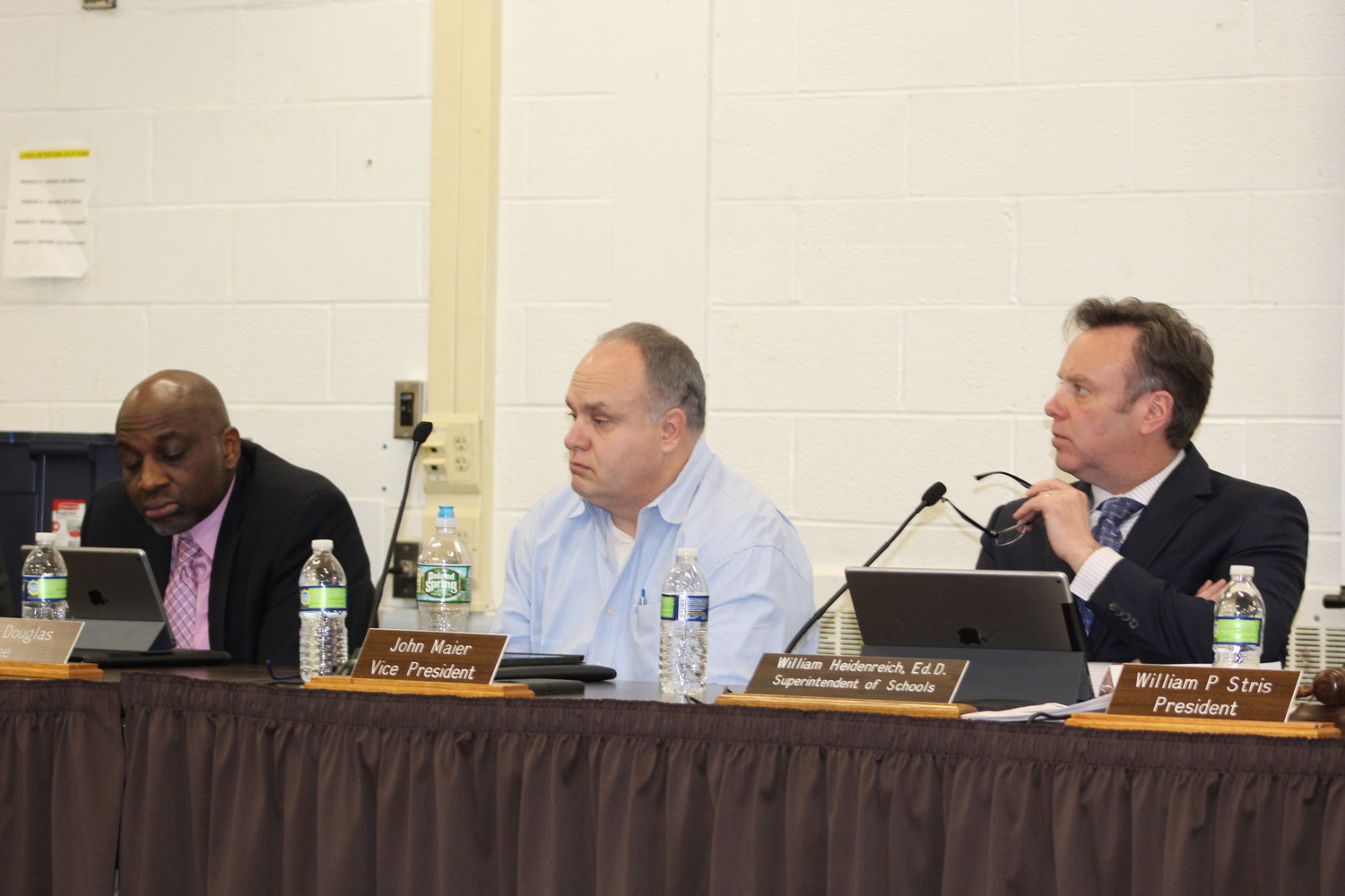 CHSD Suoerintendent Bill Heidenreich, right, and Board of Education Vice President John Maier at a waiver committee meeting last month.
