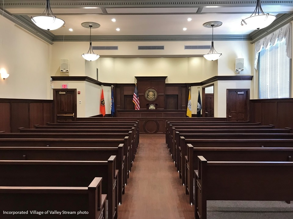 The interior of the renovated courtroom.