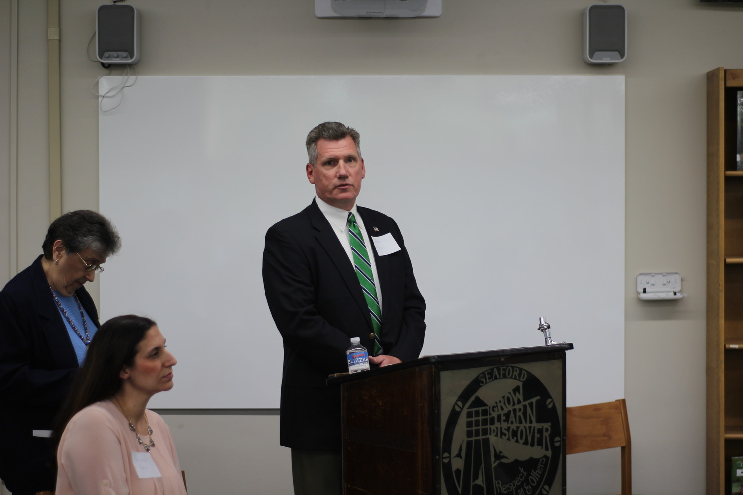 "Seaford Board of Education incumbent candidate Patrick Rail spoke to taxpayers at the Seaford PTSA's ""Meet the Candidates Night."""