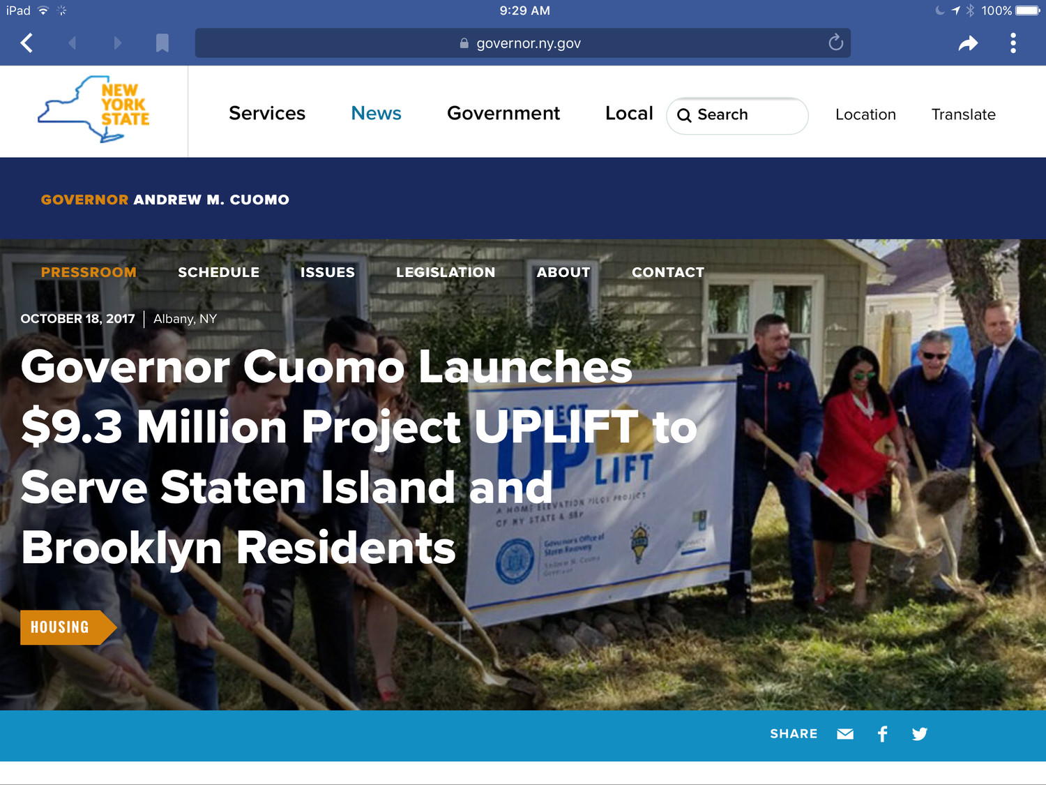 Cody Lawrence, fourth from right above, with Lisa Bova Hiatt, former executive director of the Governor's Office of Storm Recovery, in October 2017, advertised a $9.3 million home elevation pilot project called Uplift, which raised homes in Staten Island and Brooklyn to protect them from future flood damage.
