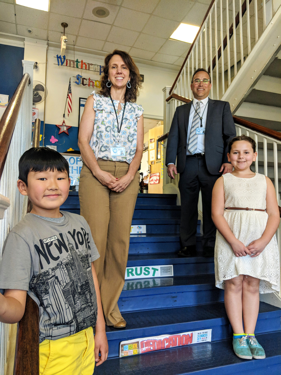 Principal Sally Curto and Bellmore Superintendent Dr. Joseph Famularo joined young student ambassadors Daniel and Allison in explaining why their school district was recently given Lighthouse distinction by the national leadership organization Franklincovey.