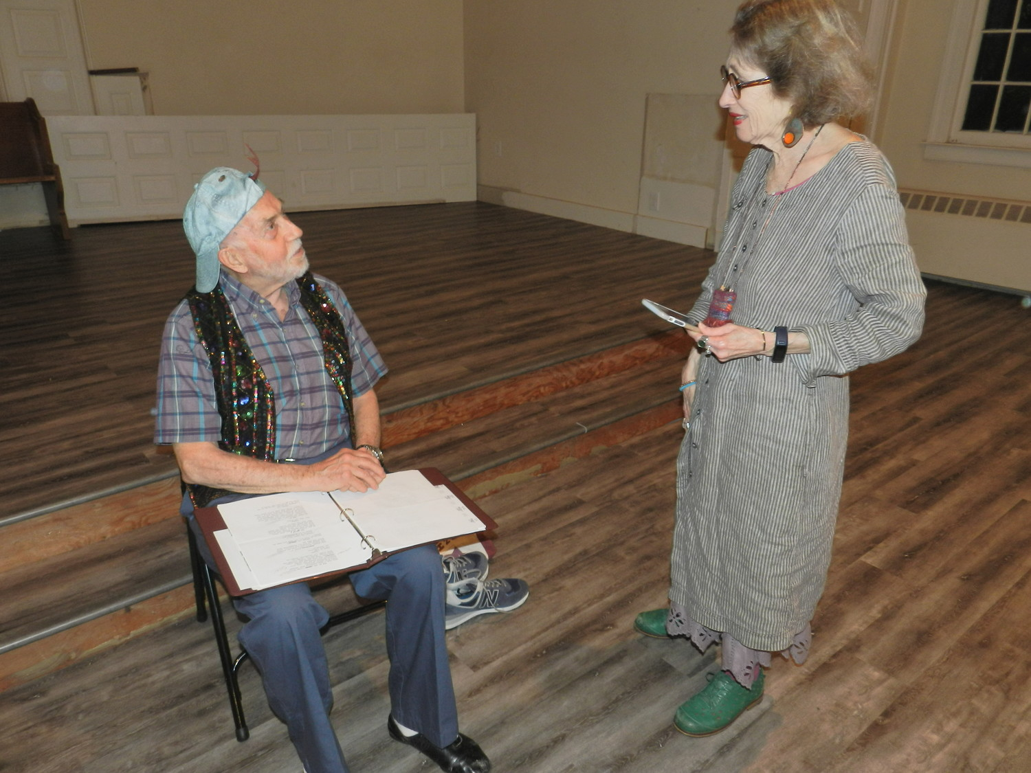 "Actor John Holly got some tips from Ginger Balizer-Hendler on his role as the snake in the production of ""Gingerella."""