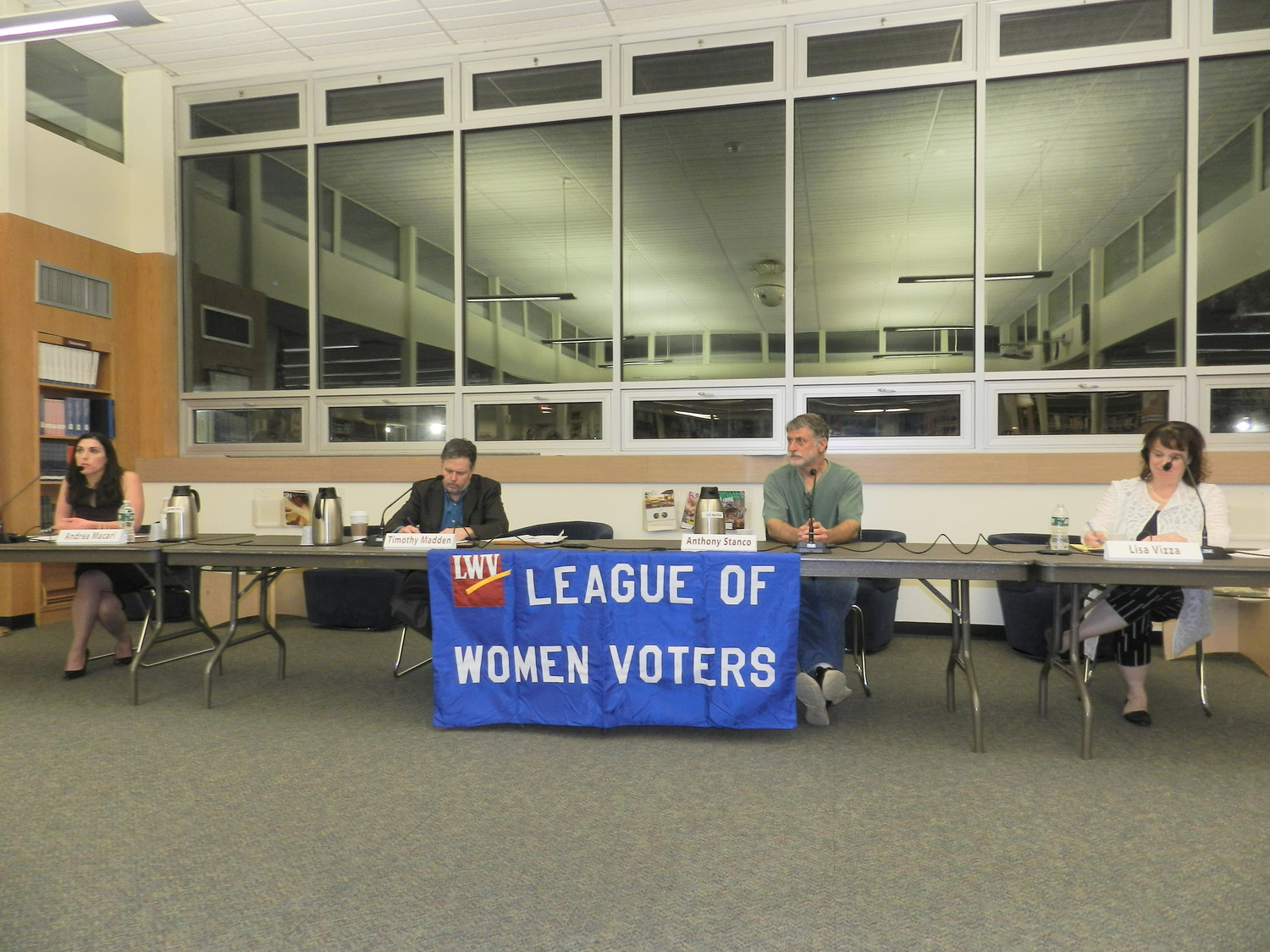 Candidates for Board of Education trustee took questions from the audience at Meet the Candidates Night on May 2, a forum coordinated by the North Shore Coordinating Council of Parent Associations and the League of Women Voters.