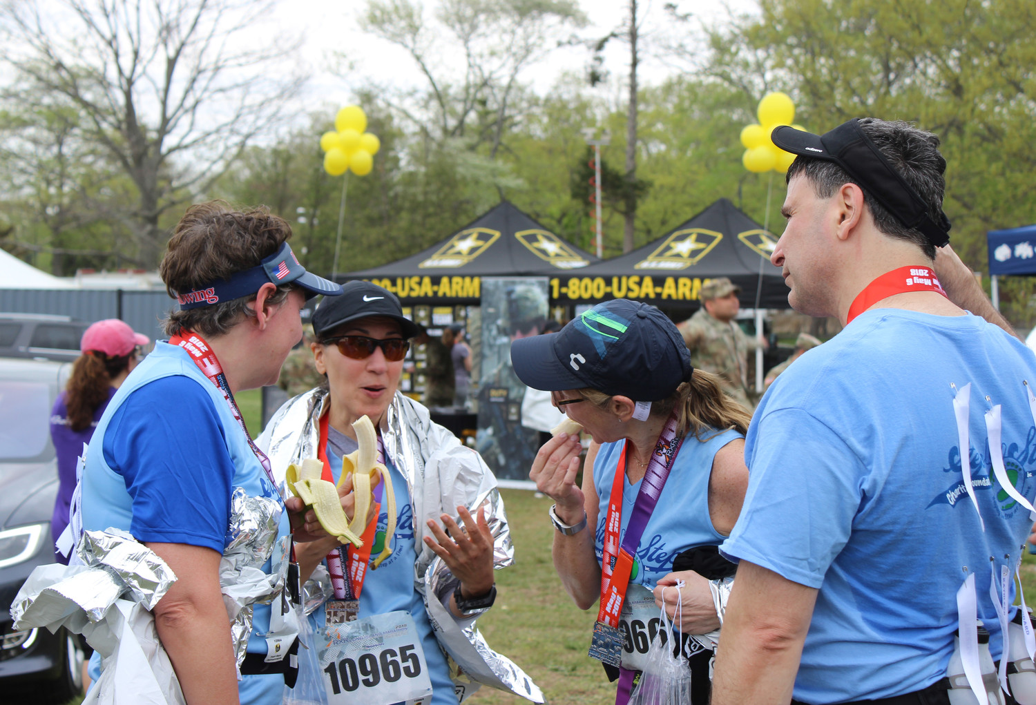 Some residents ran as a team for a common cause, such as the nonprofit Step by Step, which raised $5,000 for ovarian cancer research this year. Linda Simone, Marilyn Southerton, Martina James, Mark Woolfson and eight other runners represented the Carle Place organization.