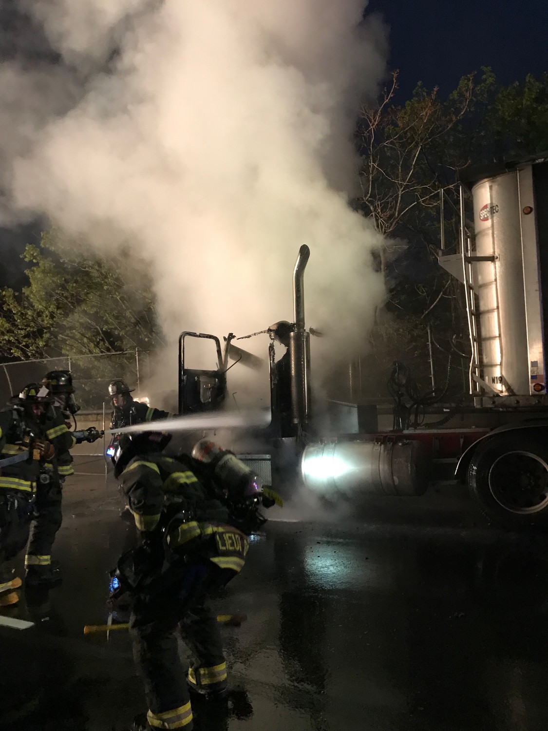 Wantagh firefighters extinguished a blaze on Sunrise Highway minutes before the sun rose on May 14. There were no injuries reported.