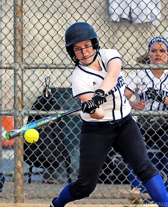 Long Beach senior Colleen Mannle made contact during last Friday's Nassau Class AA quarterfinal playoff defeat at Oceanside.