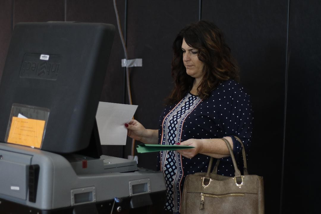 Janine Wayar fed her ballot during the election.