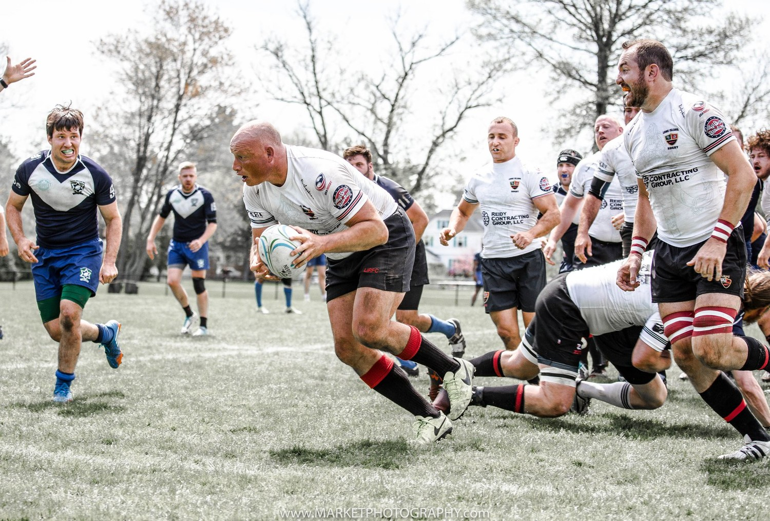 Long Island Rugby Club Captain Lance Rea, of Huntington, mad a break against Boston Maccabi Rugby Club in Providence, Rhode Island, on May 6 during the National Rugby North Atlantic Championship.