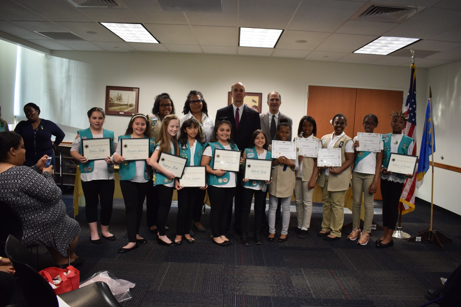 Girl Scouts from Troops 1308, 1335 and 1092 were recognized for their community service during the annual Awards Ceremony. Troop leaders and local officials presented awards and certificates to the scouts.