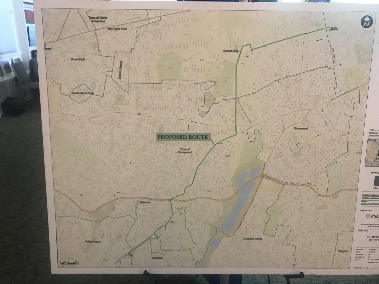 A map of PSEG's preferred route for the $176 million project, a 7.3-mile, 138-kilovolt underground power line from Uniondale to Lynbrook.