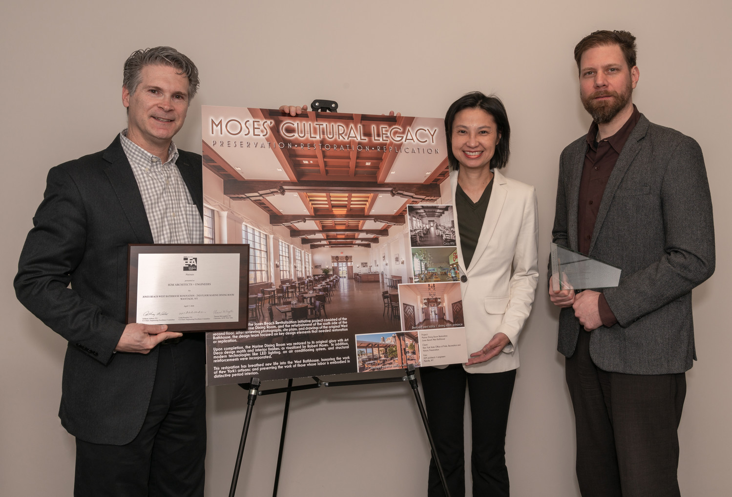 From L to R: Project Manager Ronald Lanner, Pansy Cheng and Erik Heuler of H2M architects + engineers won Platinum engineering award for modernization of Marine Dining Hall in the Jones Beach West Bathhouse.
