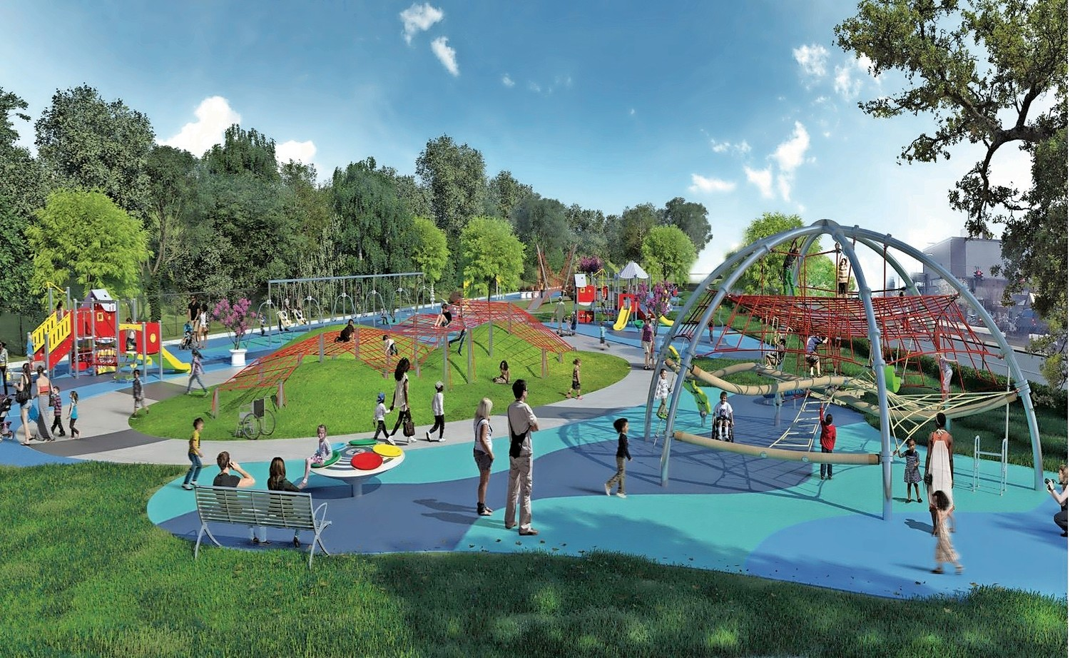 The planned inclusive playground on Hickey Field would feature climbing cargo nets, a suspension bridge, musical equipment and other structures for kids of all ages to enjoy.