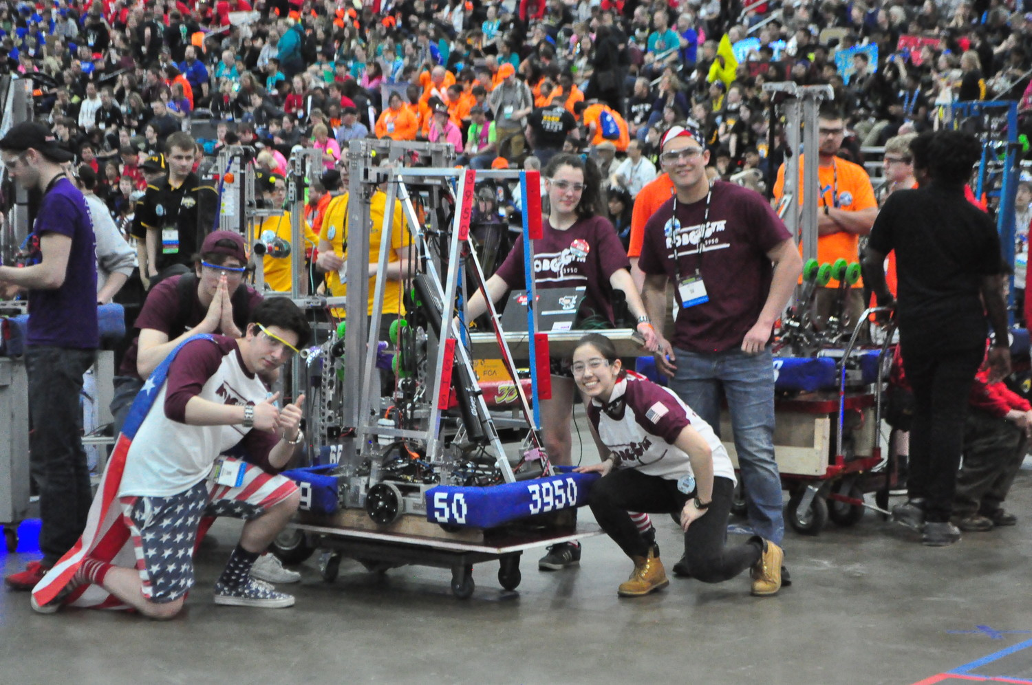 Team members Jacob Berlin, far left, Andrew Vallone, Hally Bello, Hanah Leventhal and Bryce Roth were tasked with maneuvering the robot during the tournament.