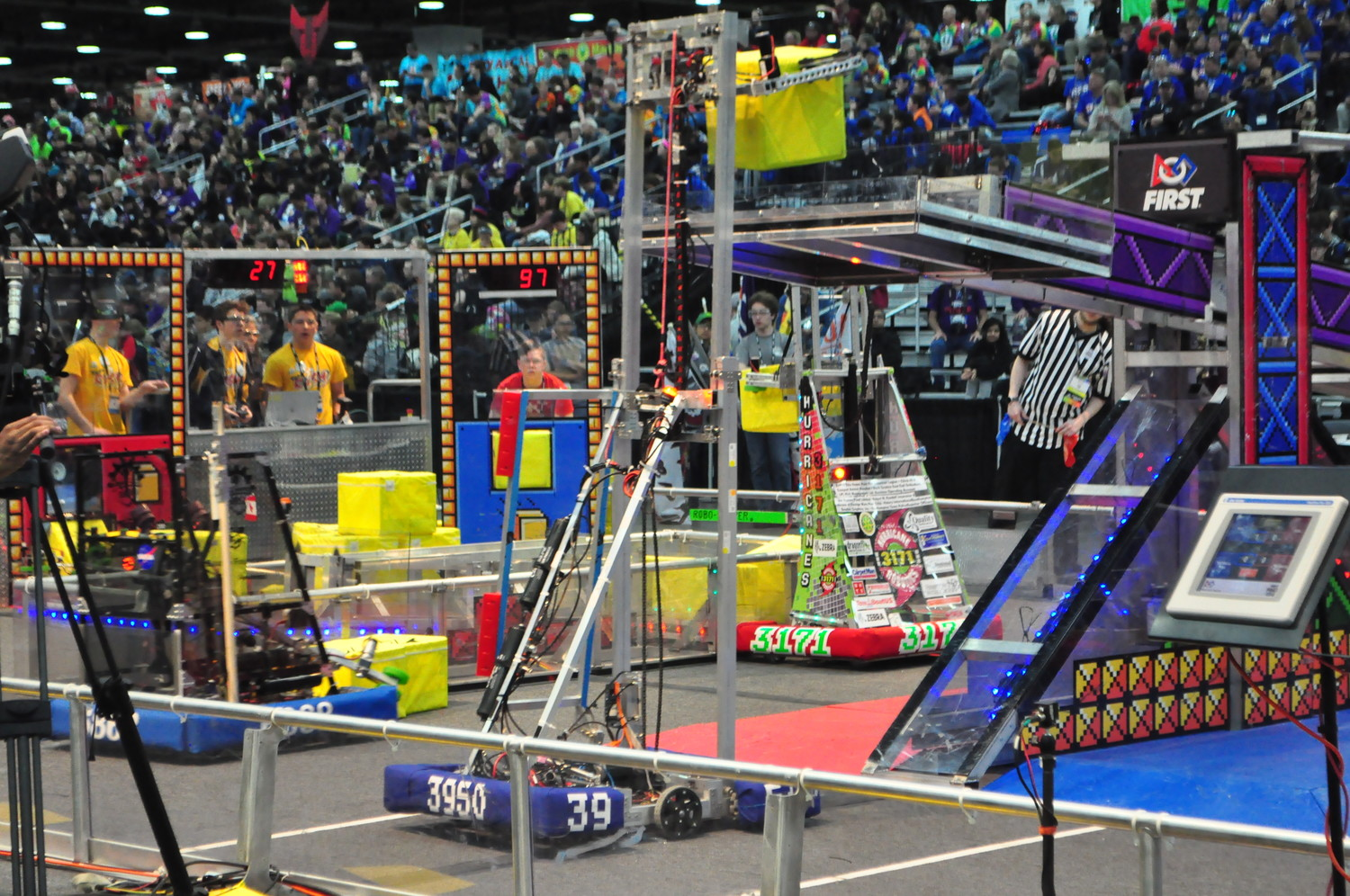 The team built a 120-pound robot to compete in alliance-style tournament rounds.