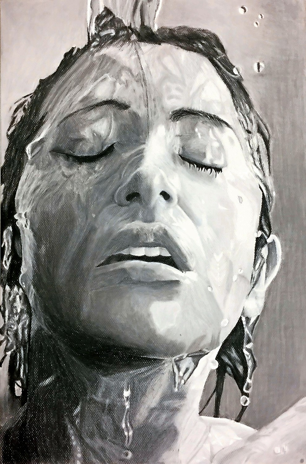 """Cleansing My Mind"" by Hanah Leventhal, black and white charcoal on paper."
