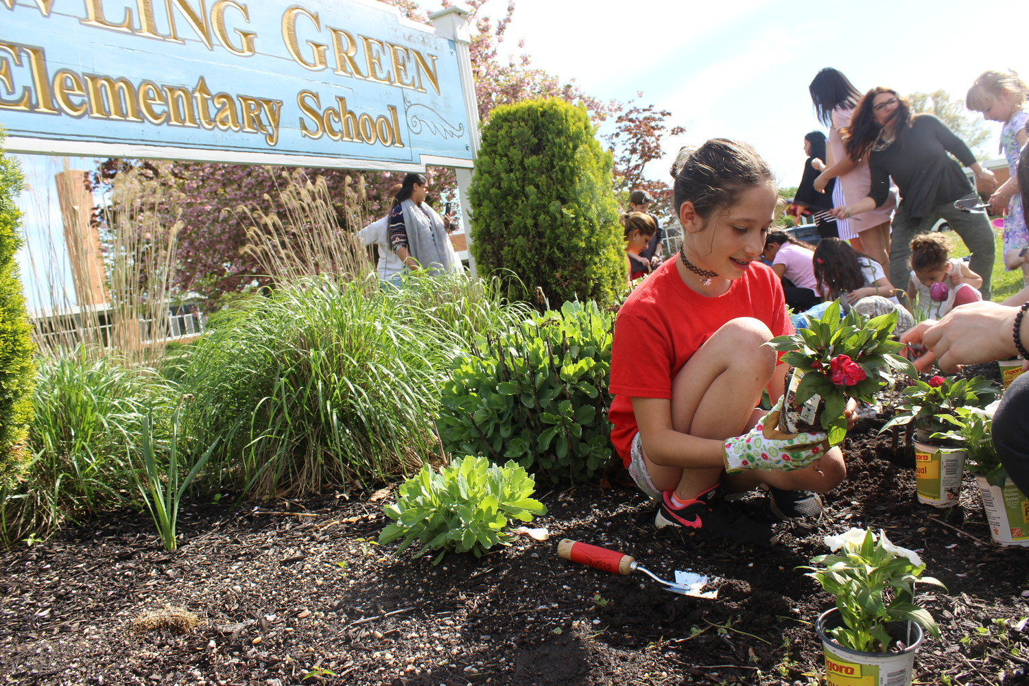 Erin Frank, a fourth-grade student at Bowling Green Elementary School, planted flowers in front of the building's sign as part of a beautification effort by the Parent Teacher Association and Garden Club.