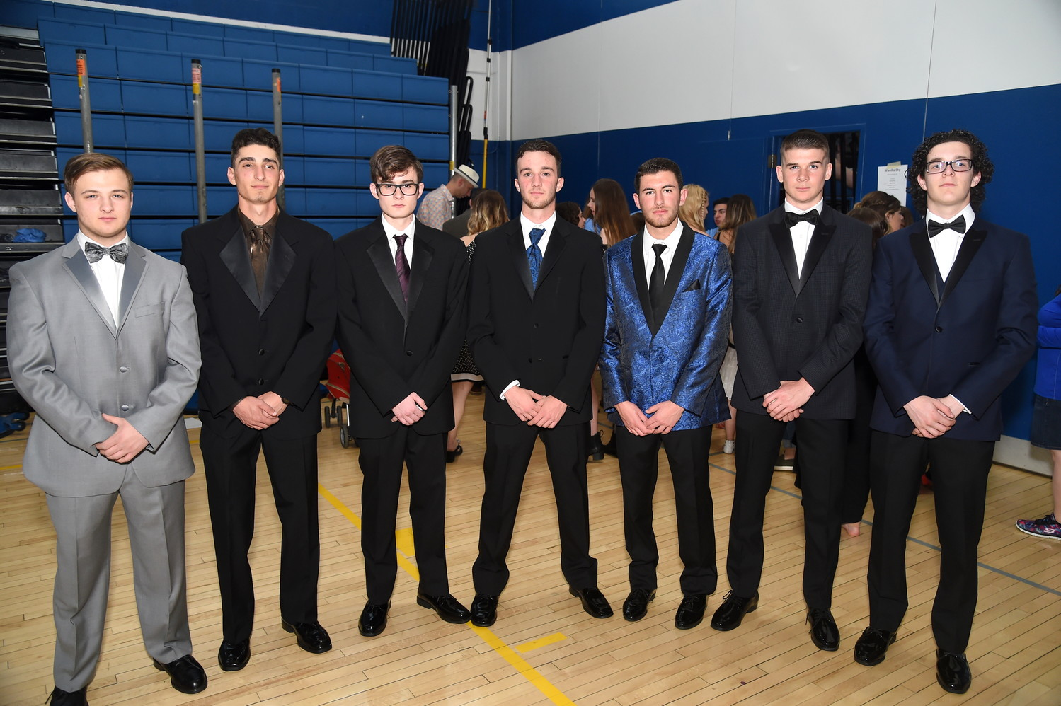 Senior gentlemen strutted their stuff at the fashion show. Pictured: Sean Immel, Jack Pugliano, James Muchs, Michael Pokorny, Jake Gedacht, James King and Michael Simmons.