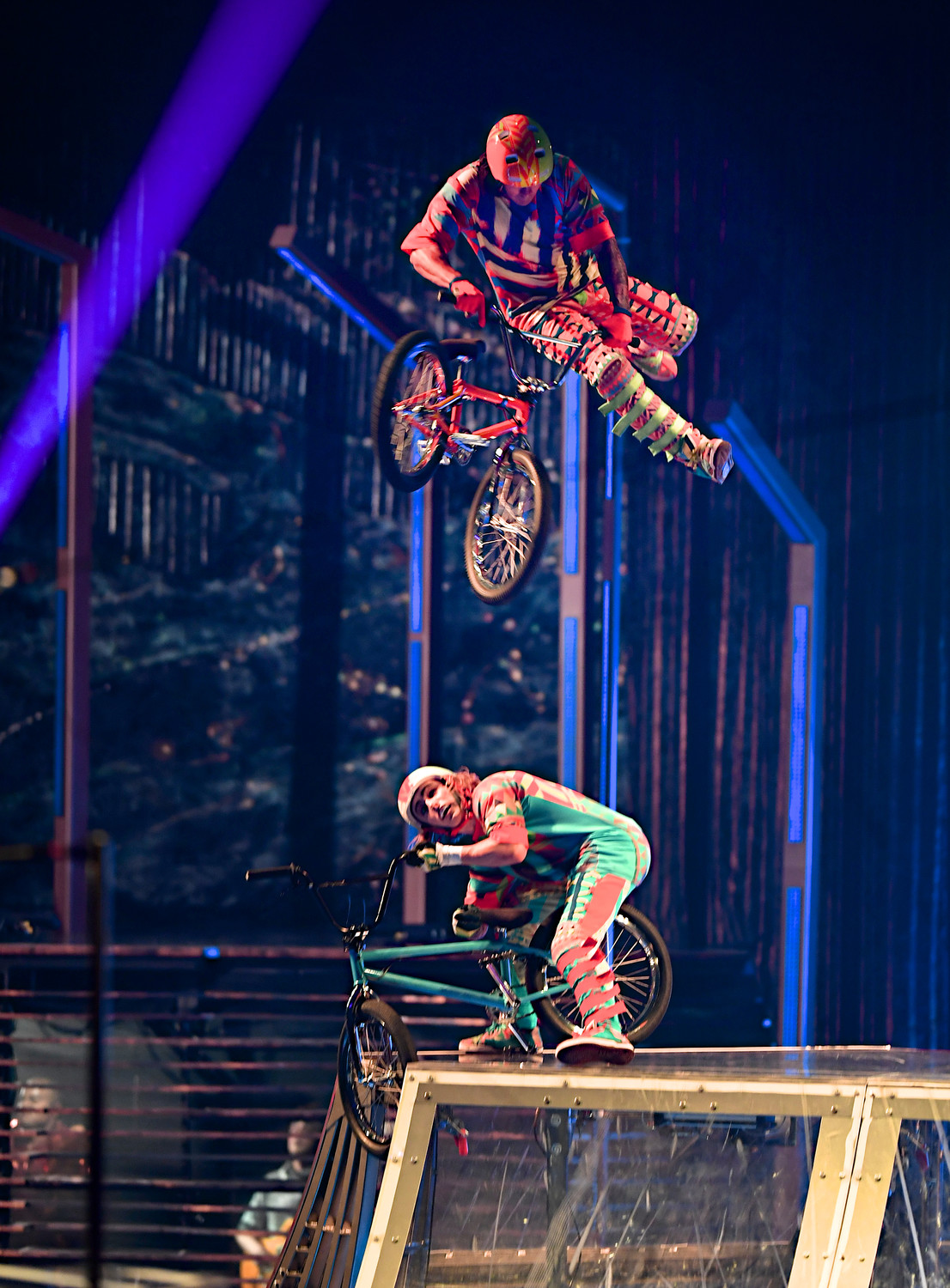 BMX riders command the stage with fast-paced nonstop acrobatics on wheels.